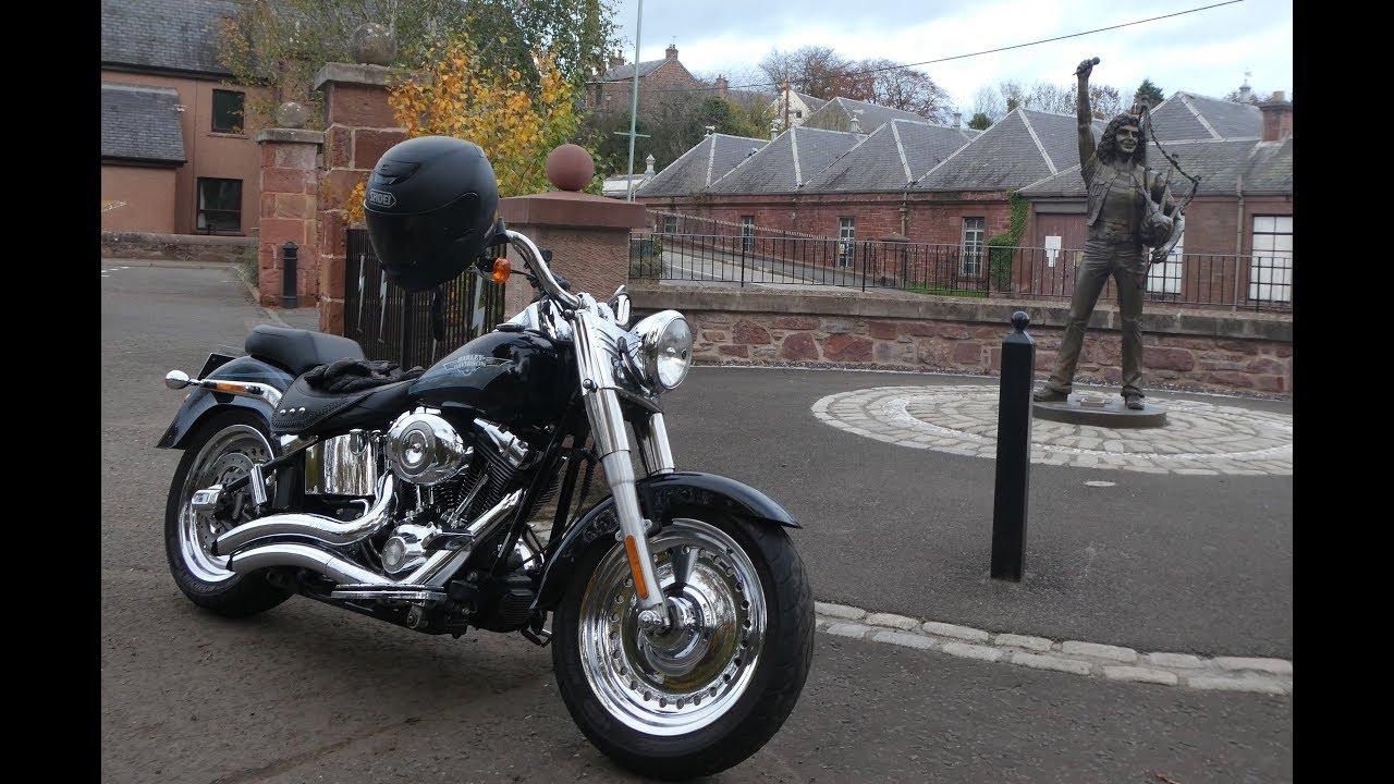 """Bon Scott statue in Kirriemuir To Blairgowrie on a Harley Davidson """"Fatboy"""""""